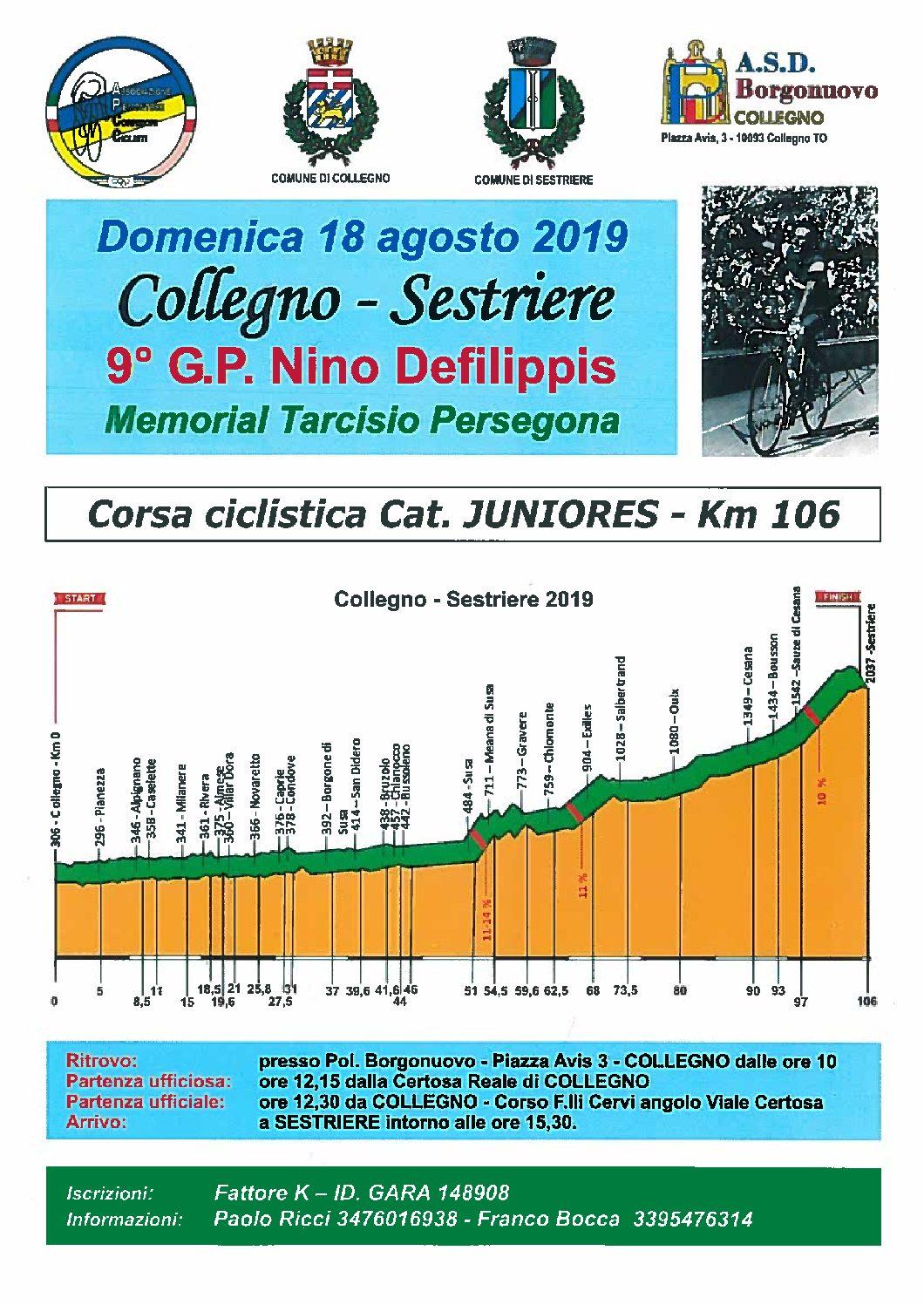 GARA CICLISTICA COLLEGNO-SESTRIERE DOMENICA 18 AGOSTO 2019