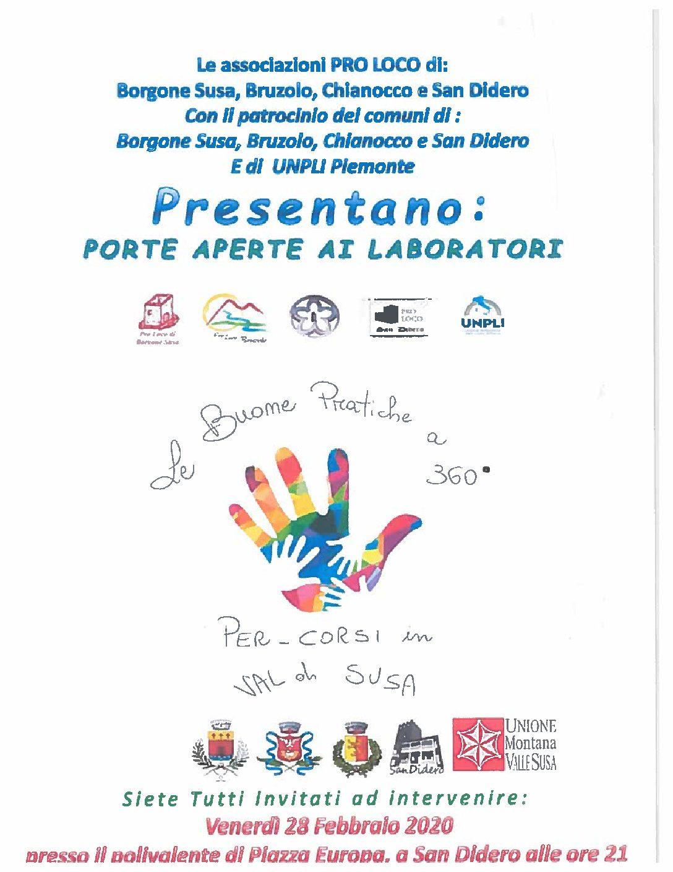 VENERDI' 28 FEBBRAIO 2020 ORE 21,00 PRESENTAZIONE PROGETTO: PORTE APERTE AI LABORATORI