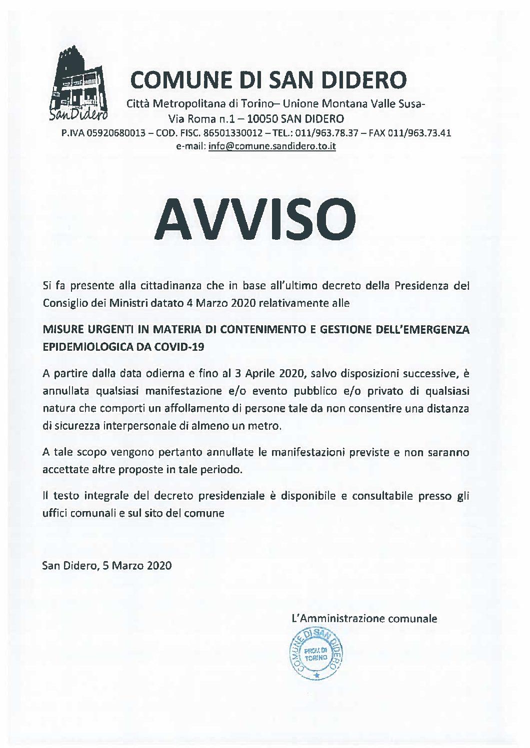 EPIDEMIA COVID 19 E MANIFESTAZIONI PUBBLICHE E PRIVATE: AVVISO DEL COMUNE