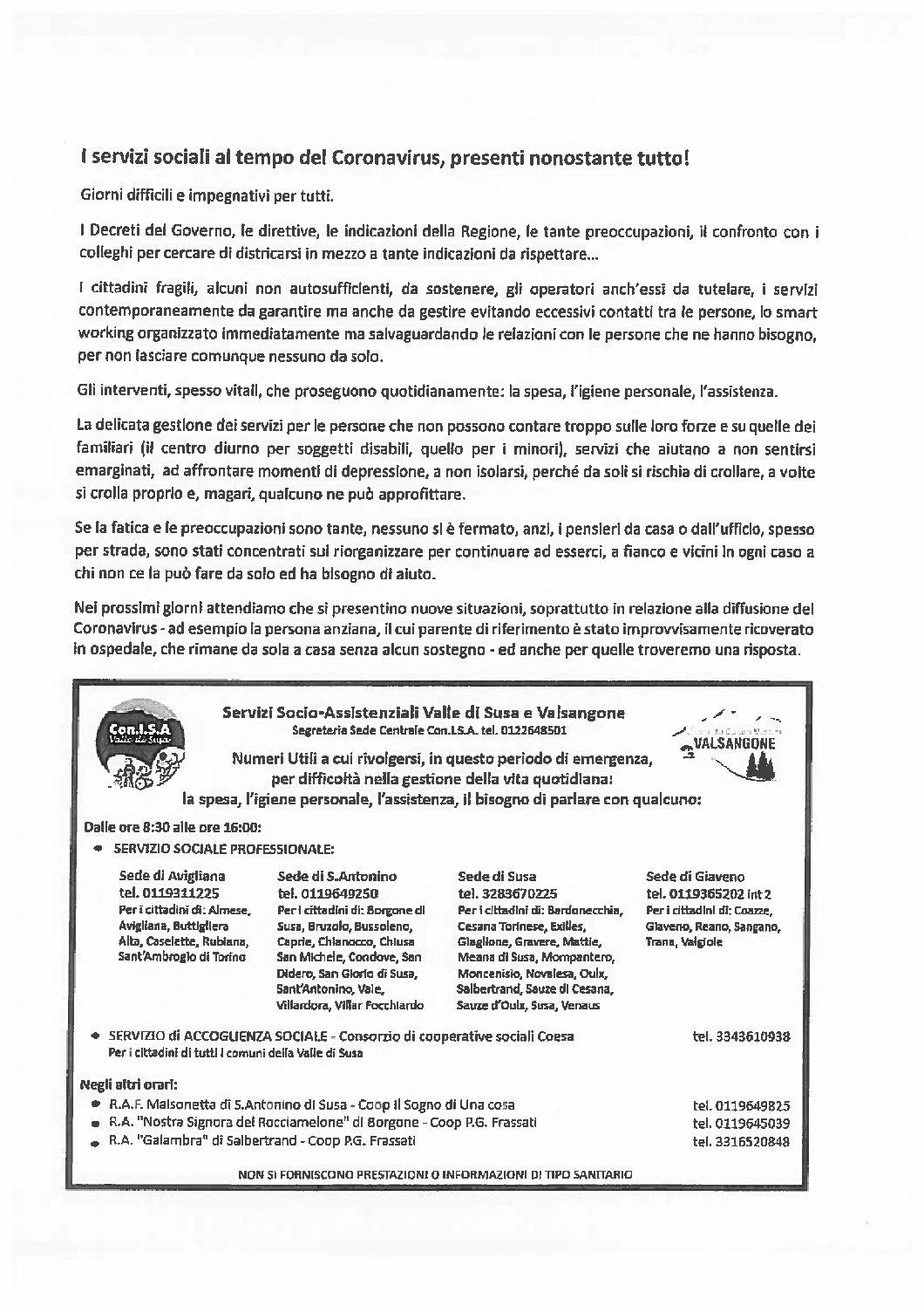 I SERVIZI SOCIALI AL TEMPO DEL CORONAVIRUS
