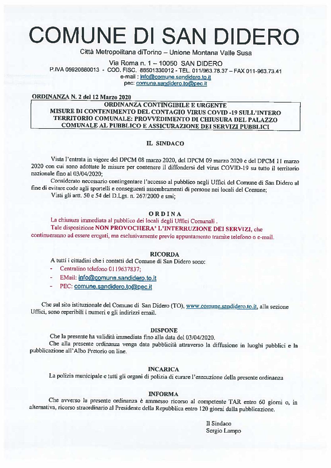 COVID 19: CHIUSURA DEL PALAZZO COMUNALE AL PUBBLICO E ASSICURAZIONE DEI SERVIZI PUBBLICI. ORDINANZA CONTINGIBILE E URGENTE.