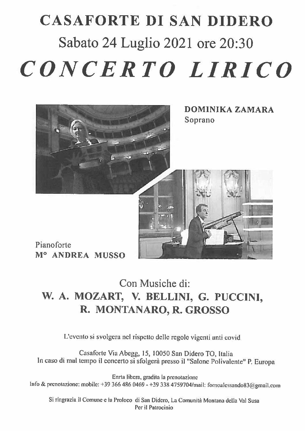 CONCERTO LIRICO – SABATO 24 LUGLIO 2021 ORE 20,30